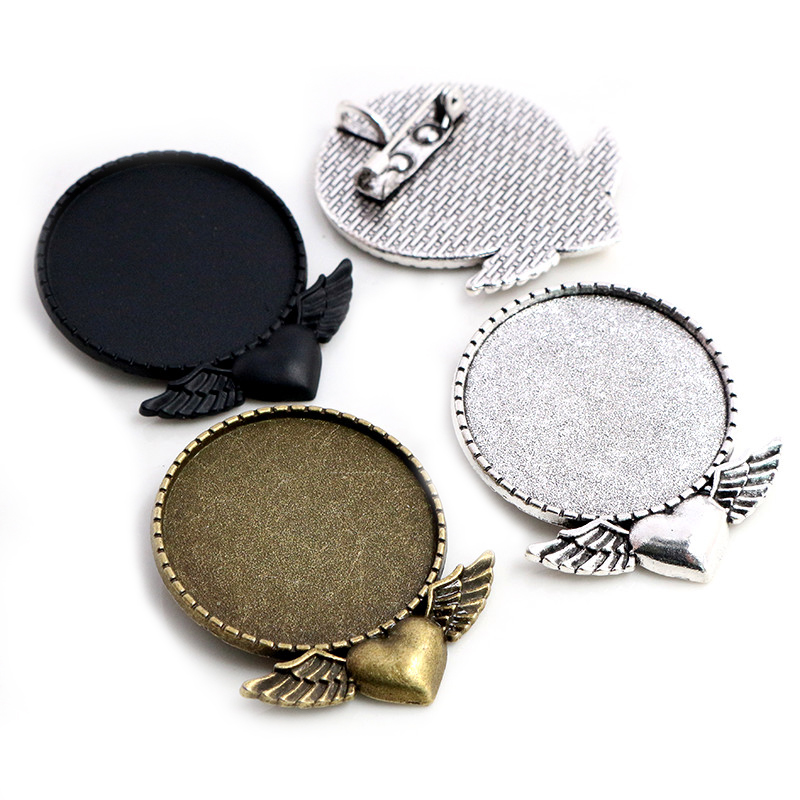 5pcs 30mm Inner Size Antique Bronze Antique Silver Plated Black Heart Wing Brooch Style Cabochon Base Setting Charms Pendant