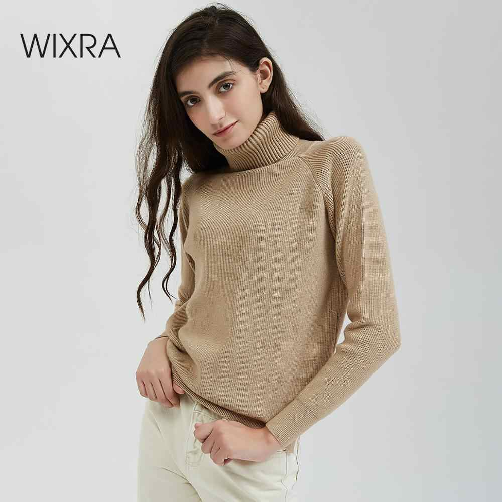 Wixra Thick Turtleneck Warm Women Sweater Knitted Female Pull High Elasticity Female Solid Pullovers Autumn Winter