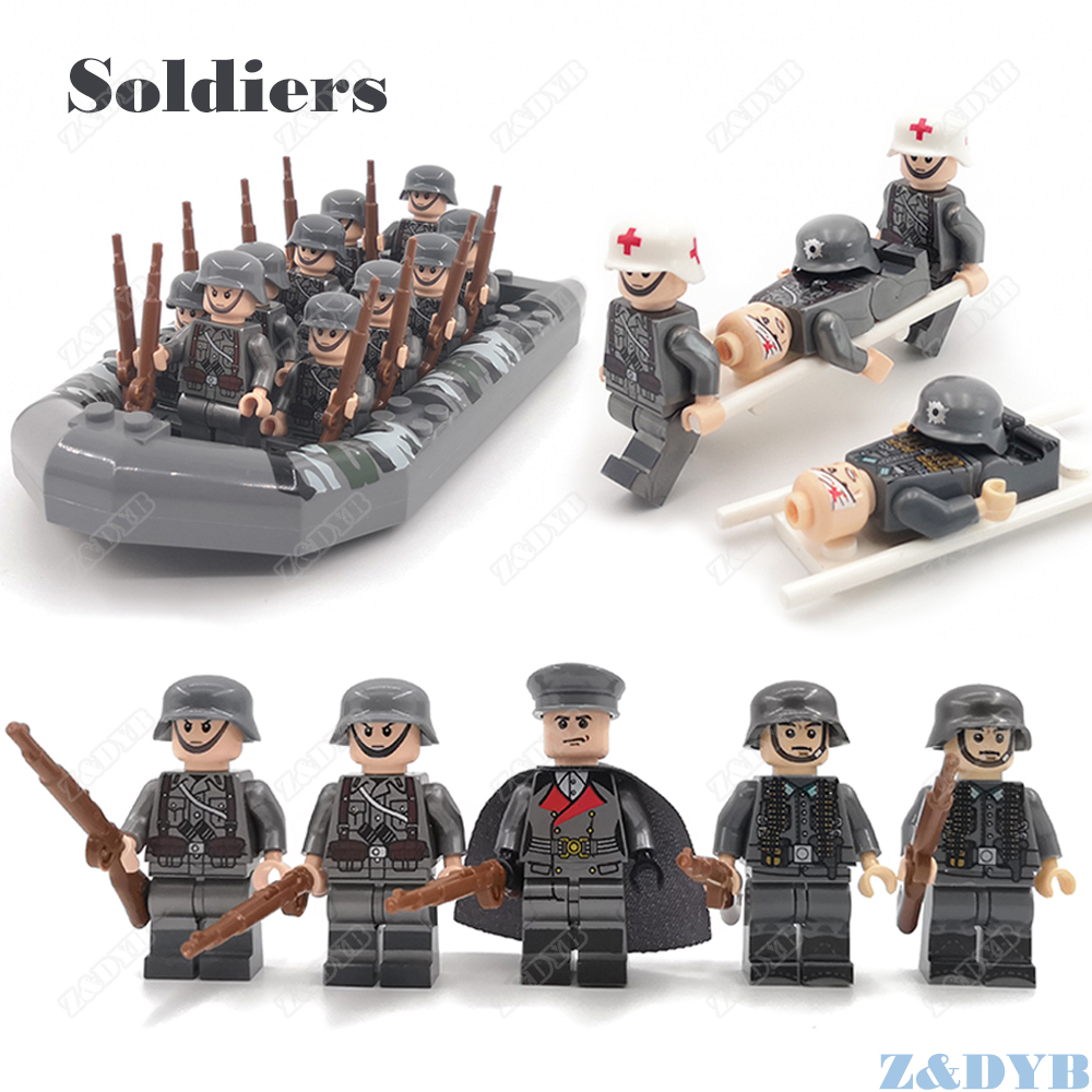 Military Sets WW2 Mini Soldiers Medical Accessories USA Weapon Gun Locking Figure Soviet Model Building Block Brick Children Toy
