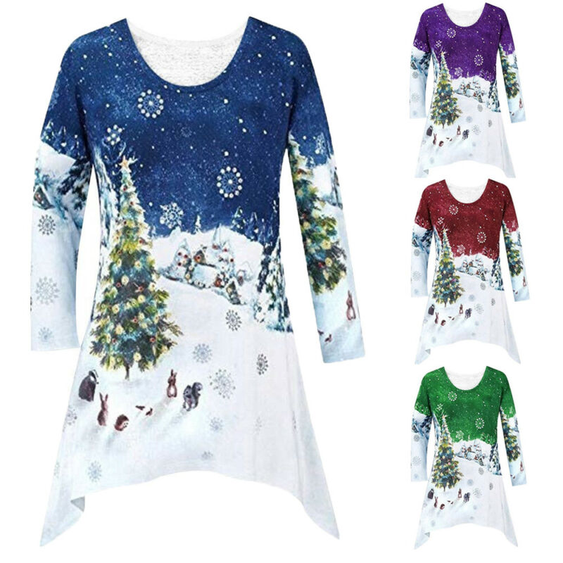 Womens Top Ladies Plus Size Snowman Print Christmas Party Swing Dress Nouvelle