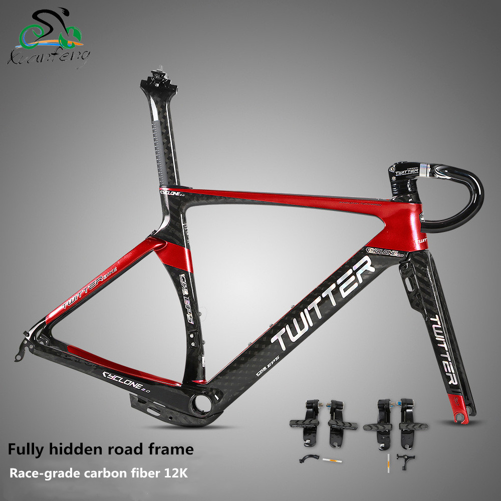 CYCLONE2.0 Fully Hidden Road Frame With Carbon Fiber Front Fork Group + Bowl Group +TRP Clamp