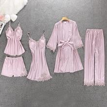 Sexy Women Pajamas 5 Pieces Sets Satin Sleepwear Pijama Silk