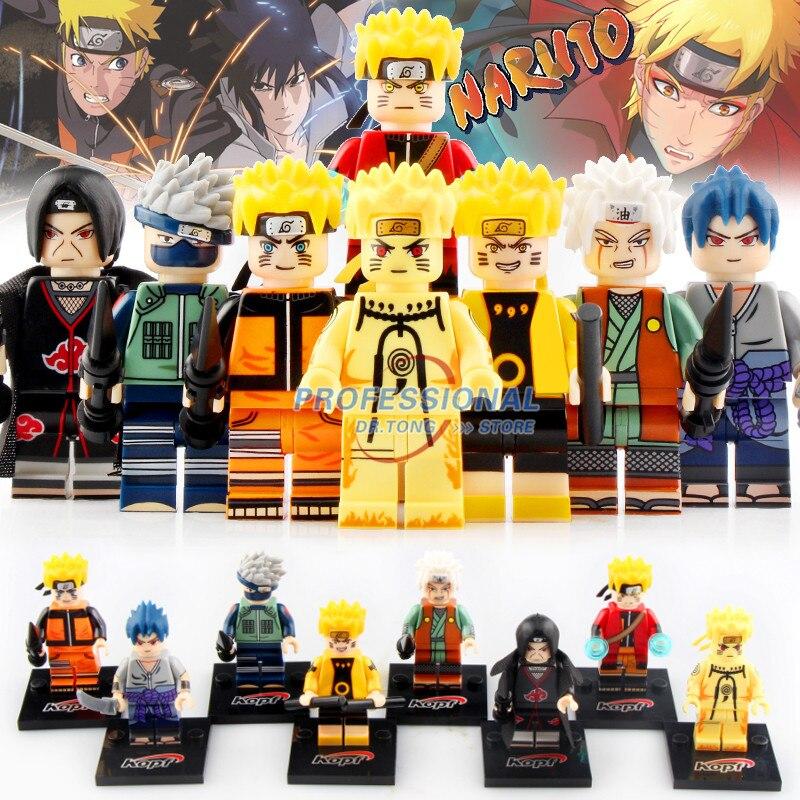 8 stücke Naruto Action-figuren Sasuke Uchiha Itachi Jiraiya Hatake Kakashi Figuren Bausteine Spielzeug für Kinder Geschenke KF6078