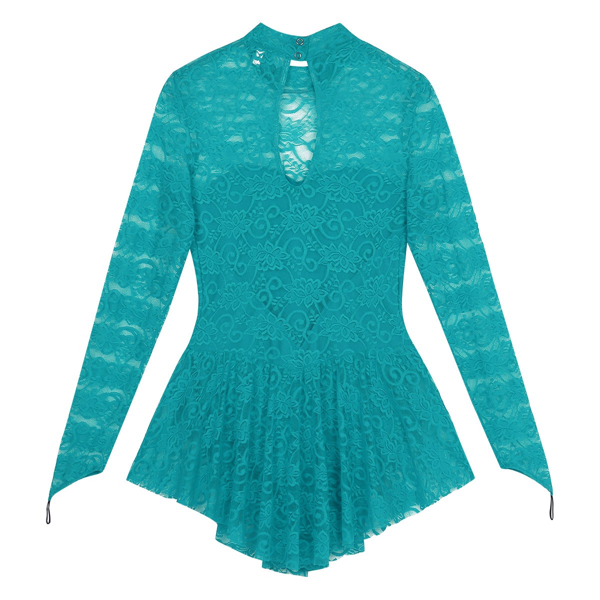 Image 4 - TiaoBug Adult Long Sleeve Soft Lace Tutu Ballet Gymnastics Leotard Women Figure Skating Dress Competition Lyrical Dance CostumesBallet   -