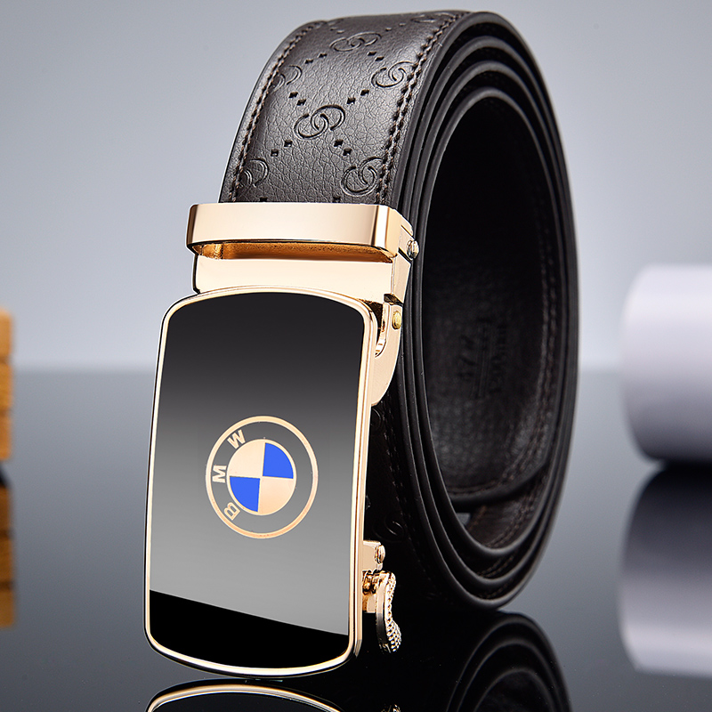 Men's belt, high-quality leather belt, automatic buckle, fashion belt, luxury gold belt title=