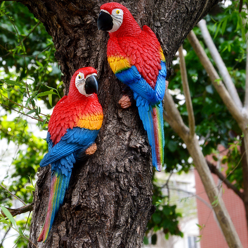 Resin Parrot Statue Wall Mounted DIY Outdoor Garden Tree Decoration Animal Sculpture For Home Office Garden Decor Ornament