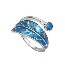 100% 925 пробы серебряные синие глазурные листья открытые кольца