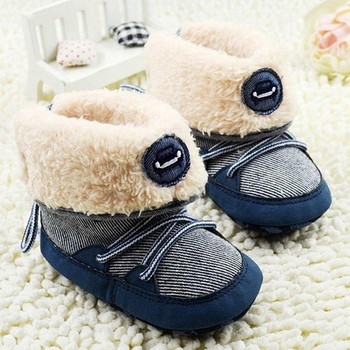Fleece Boots Toddler Girl Boy Wool Snow Crib Shoes Winter Warm First Walkers New
