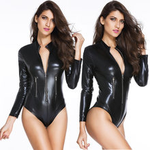 Wetlook Bodysuit Vrouwen Latex Catsuit Faux Lederen Rits Bodysuit Top Fetish Kostuums Erotische Lange SleeveBodycon Body Pak(China)