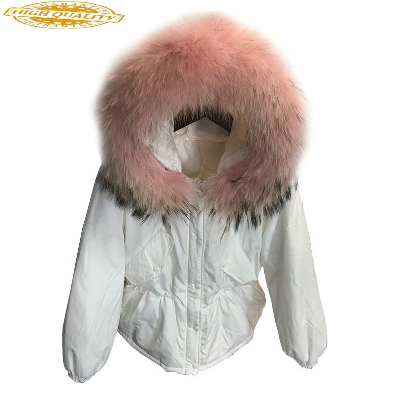 Short Down Jacket Woman Hooded Winter Coat Women Real Fur Collar Parka White Duck Down Coats Jackets Abrigo Mujer KJ459