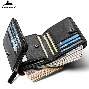 Three fold wallet mini short Men's Wallet carteira pequena zip coin bag small men wallets made of natural leather classic style
