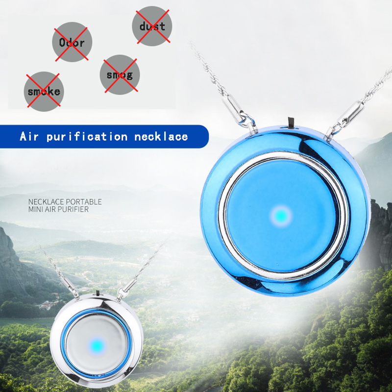AGLOVER Men Women Wearable Air Purifier Necklace Mini Portable Usb Air Purifier Negative Ion Generator Low Noise Air Freshener