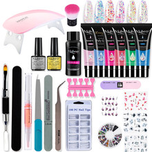 Mobray Poy UV Gel Nail Set untuk UV Led Lamp Poly Mesin Nail Polish Kit Kuku Alat Set dengan Sikat rendam Off Nail Art Alat Kit(China)