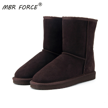 MBR FORCE 2020 Women Boots Winter Warm Genuine leather suede winter snow boots for women real Mid-Calf Girl