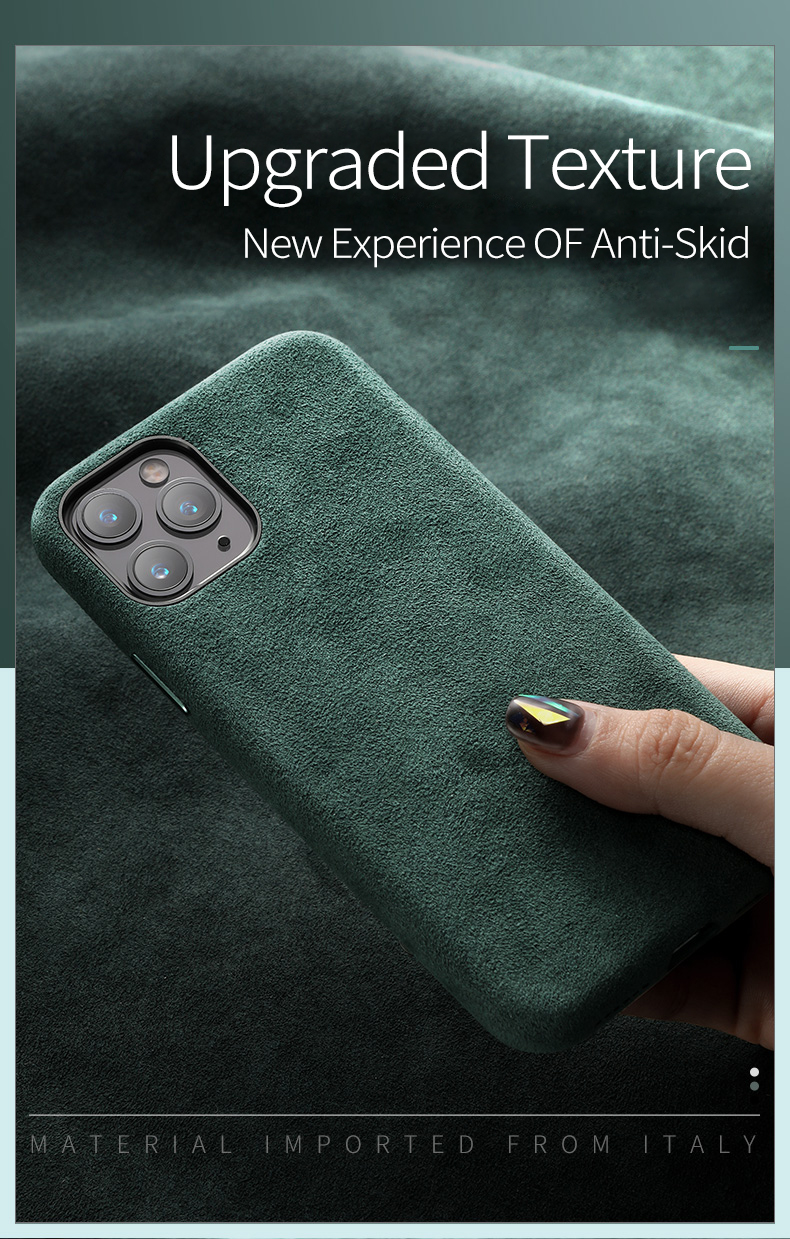 Haf6b3aae0fa64d27ba4e4a98a9016015w SanCore for iPhone 11 pro Max Phone Case ALCANTARA fashion Leather Full-protection Business Luxury Phone Shell Suede cover man