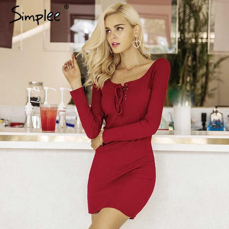 Осеннее и зимнее женское платье Simplee, элегантное эластичное трикотажное платье-свитер на шнуровке с длинными рукавами, повседневное платье-бодикон