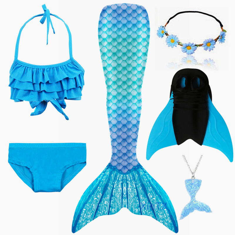 2020 NEW Arrival!6PCS/Set Rainbow Style Mermaid Tail Swimsuit With Fin For Kids Girls Holiday Dress Costume Bathing Swimuit