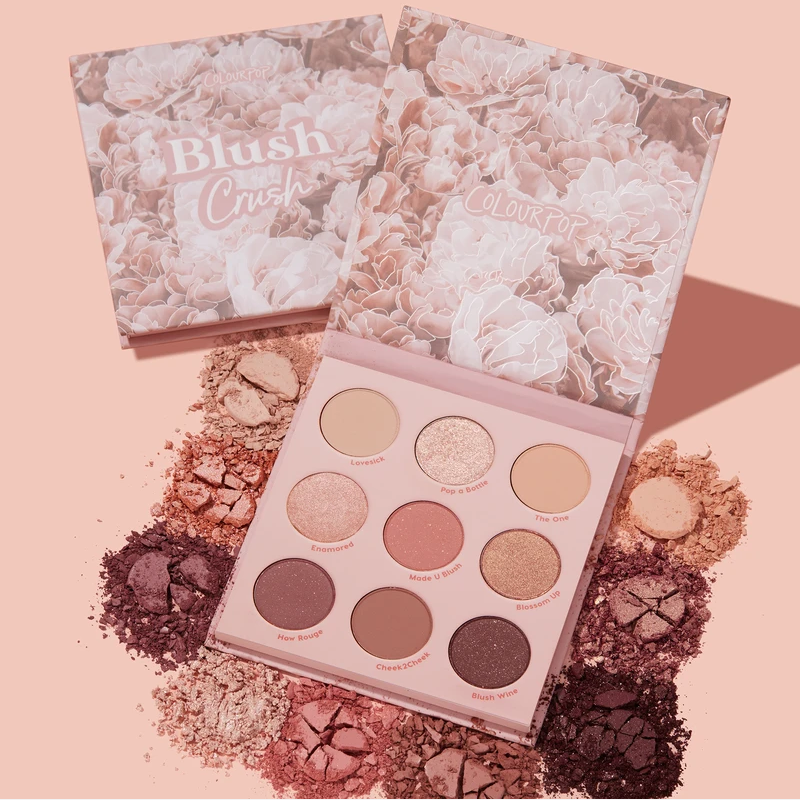 Colourpop Glitter And Matte 9 Colors Blush Crush Cardboard Eyeshadow Palette
