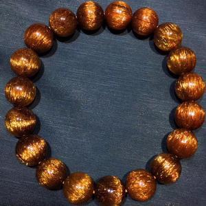Image 3 - Gema de Cuarzo rutilado de pelo de cobre Natural genuino elástico redondo cuentas de cristal pulsera 10,5mm efecto ojo de gato raro AAAAA