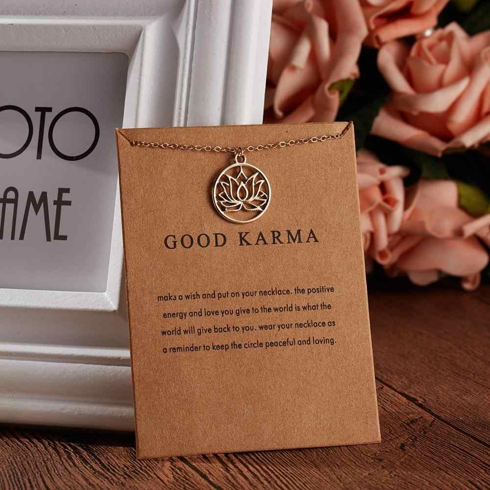 العصرية الذهب لون جديد وصل جيدة كارما بوذا لوتس قلادة قلادة للنساء عيد الحب كرت هدية المجوهرات الإناث هدية