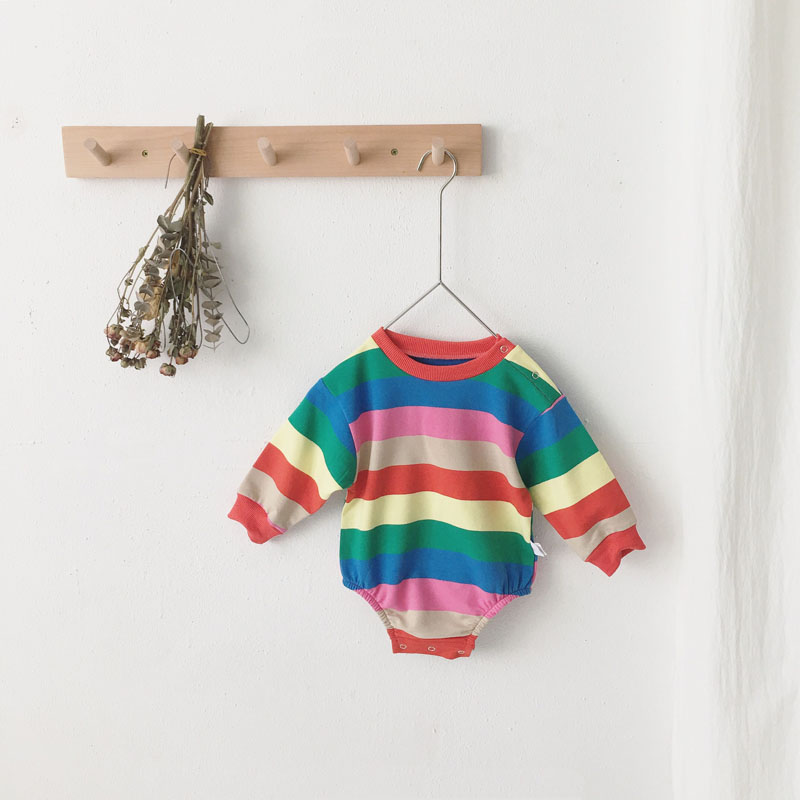 MILANCEL Baby Clothing Rainbow Baby Boys Bodysuits Long Sleeve Striped Baby Boys Outfit