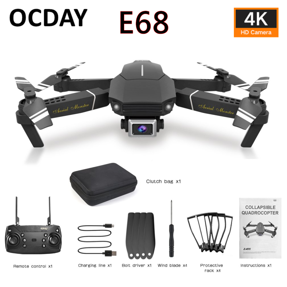 E98/E68 Four Axis UAV Fixed Height Folding Drone2 Plastic 720P/4K/HD 2/5MP 2.4G Wifi Aerial Photography RC Aircraft With Battery