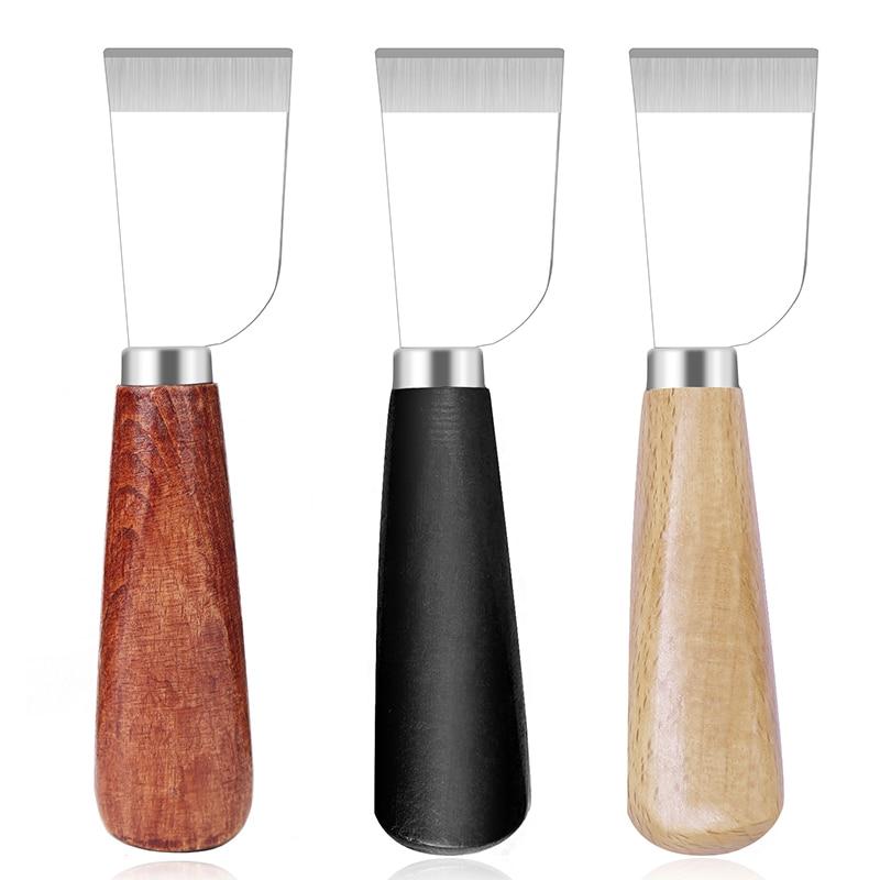 LMDZ deri kesme bıçağı deri Skiving bıçak deri el sanatları kayak deri kürek bıçak ahşap saplı deri aracı