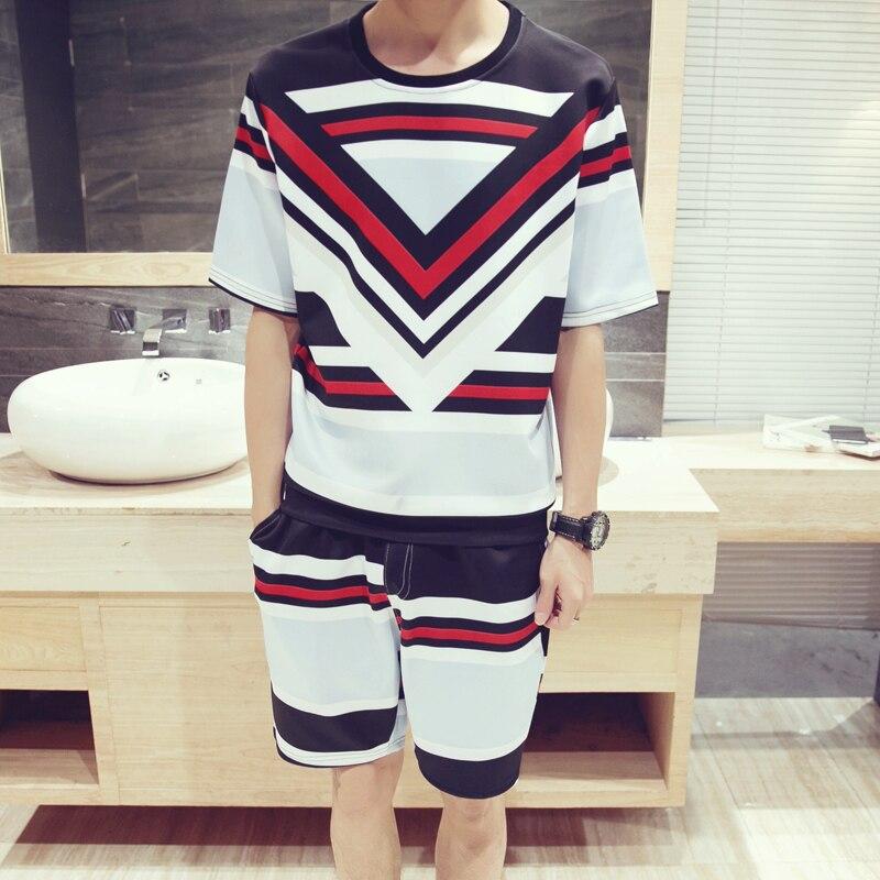 Men Summer Large Size 3D Fashion Print (Shorts + T-Shirt) Set Couple Travel Beach Loose Cotton Suit Clothing Asian Size M-5XL