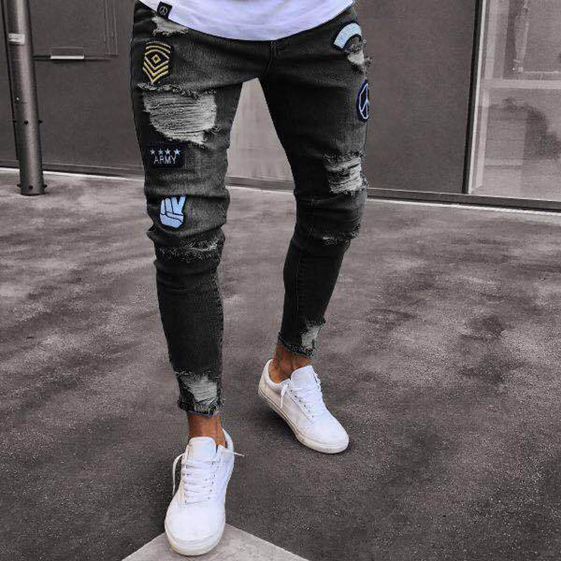Europe And America New Style Jeans Men Hot Sales Knee With Holes Zipper Hot Selling Cowboy Trousers