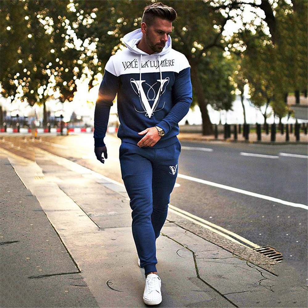 Spring Autumn Men's Fitness Hooded Tracksuits Loose Running Training Casual Hooded Coats+fashion Pure Color Pants Jogger Suits