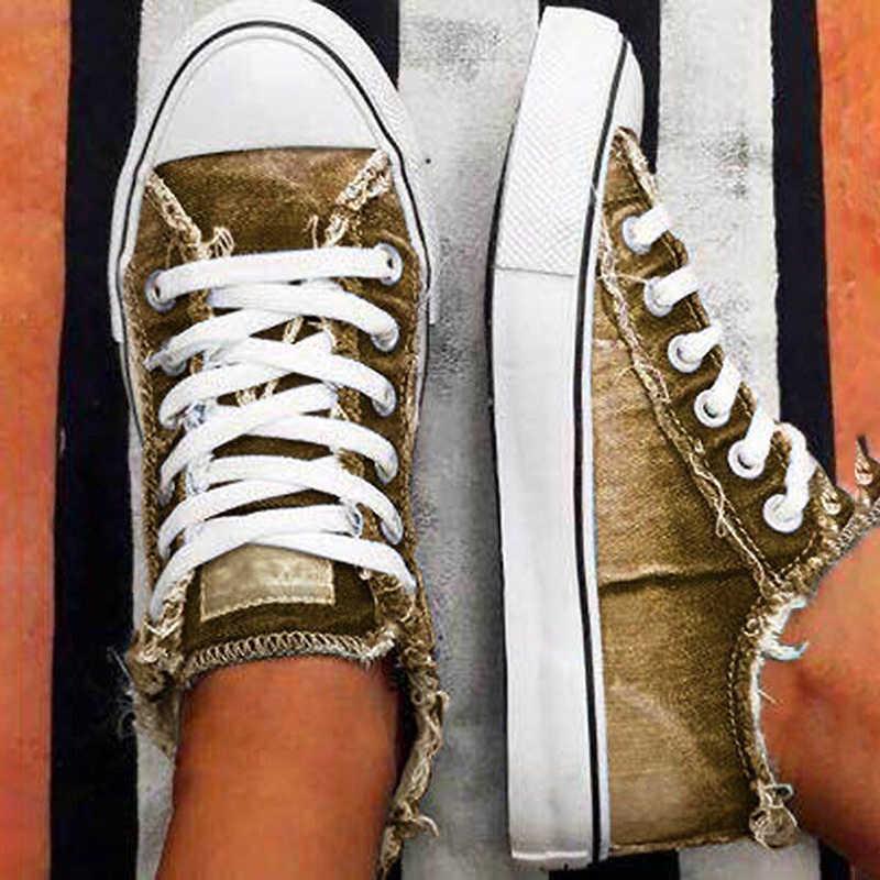플랫 캔버스 여성 캐주얼 신발 레이스 업 데님 2020 여름 Vulcanize 신발 낮은 정상 플러스 크기 여성 스 니 커 즈 Zapatos Mujer VT1221
