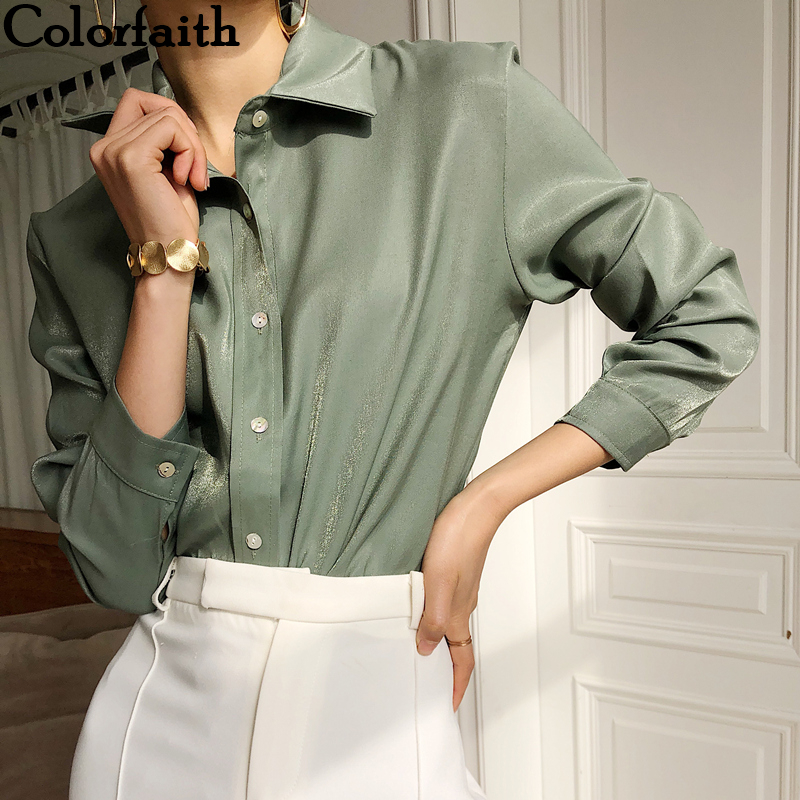 Colorfaith New Women Blouses Shirts 2019 Autumn Winter Fashion Korean Style Elegant Office Lady Solid White Ladies Tops BL9307
