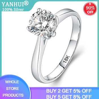 YANHUI With Certificate Luxury 18K White Gold Ring Silver 925 Jewelry Wedding Band For Women 2.0ct Lab Diamond Engagement Rings yanhui have 18k rgp logo pure solid yellow gold ring luxury round solitaire 8mm 2 0ct lab diamond wedding rings for women zsr169
