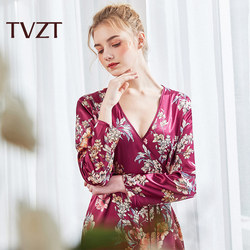 Tvzt 2020 new nightgown woman elegant home service sleepwear female nightgown suit flower printing wide-sleeved nightgown