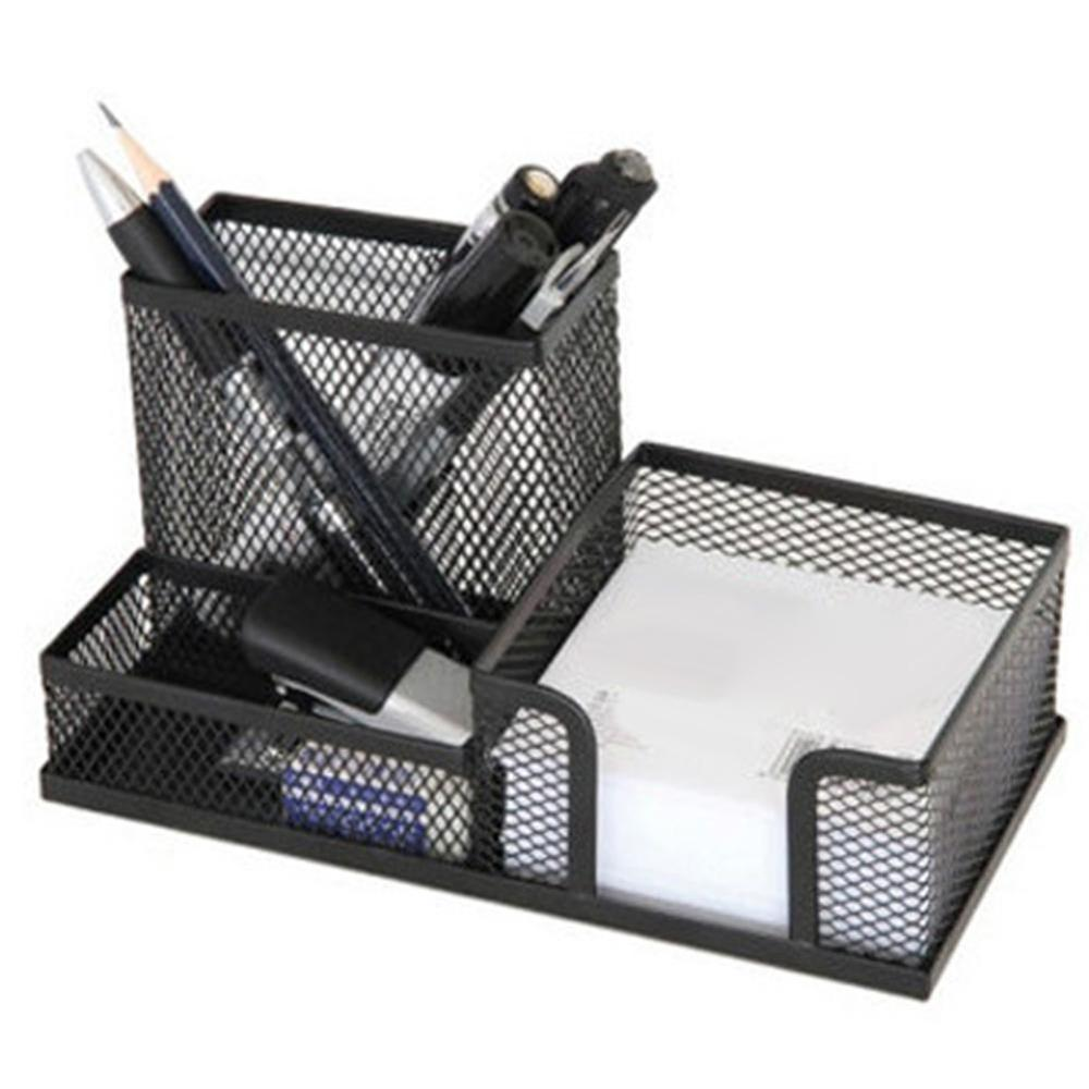2019 Metal Mesh Desktop Pen Holder Organizer Office Home Stationery Storage Case