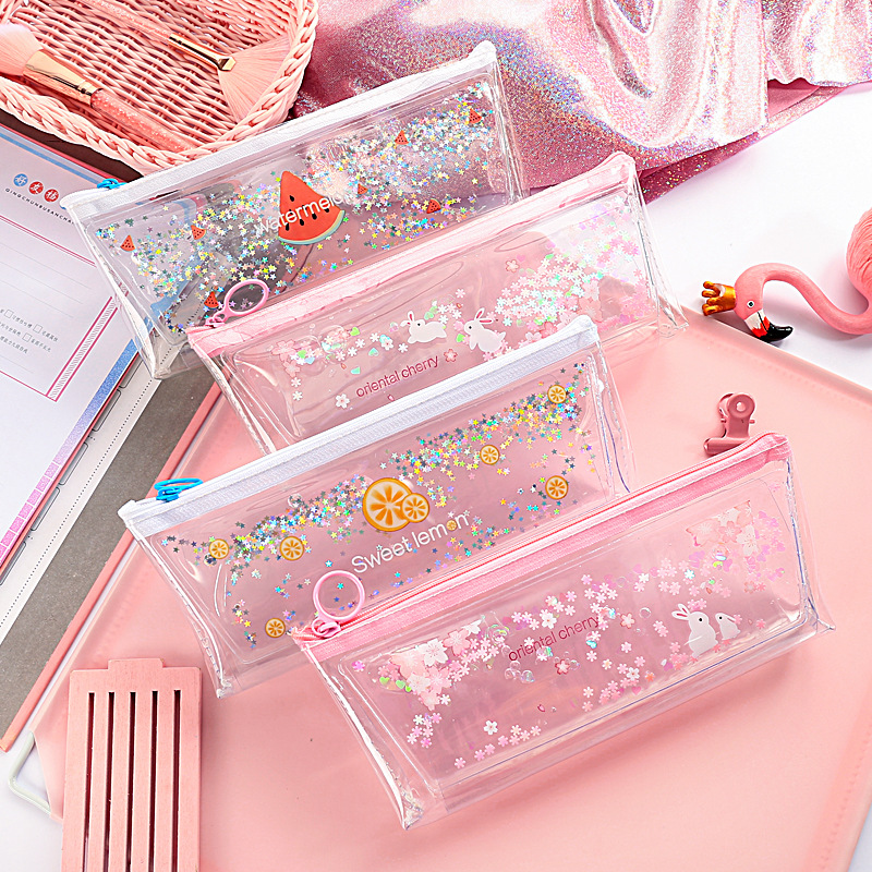 Creative quicksand large capacity pencil case cute cartoon girl heart student stationery