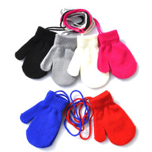 Kids Gloves 13*6cm 1-4 Years Children Winter Warm Gloves Patchwork Knitted Cute Handschoenen With String Hand Gloves Guantes cheap CN(Origin) Polyester waterproof Universal Washable Full Finger One size