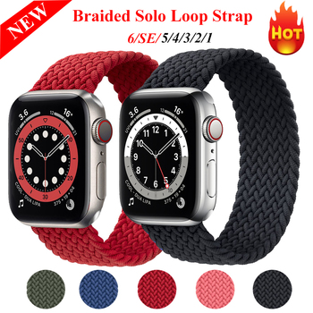 Braided Solo Loop Strap For Apple Watch Series 6 Band 5/SE/4 40MM 44MM Woven Watchbands For iwatch Series3/2/1 38MM 42MM Strap