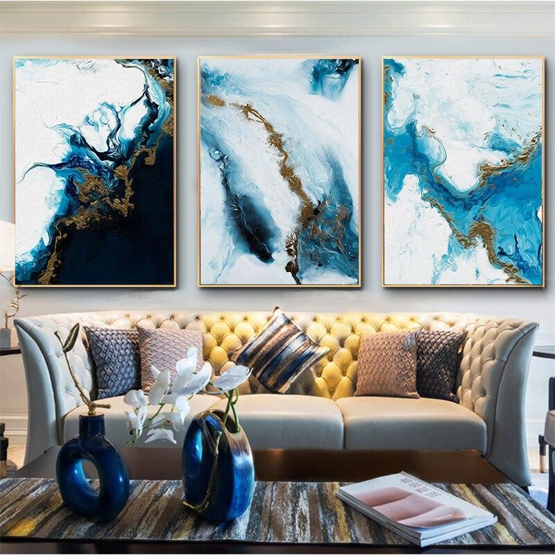 Oceano azul abstrato arte da parede imagem da lona pintura cartaz de impressão decoração da parede imagens da arte da sala de estar