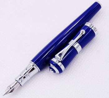 цены Fuliwen 2051 Fountain Pen Blue Metal Ink Pen Fresh Fastion Style M Nib Converter Pen stationery office supplies Writing Gift