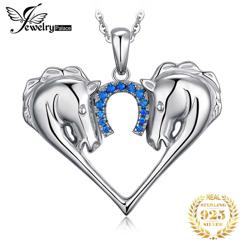 JPalace Heart Horse Created Sapphire Pendant Necklace 925 Sterling Silver Gemstones Choker Statement Women Without Chain