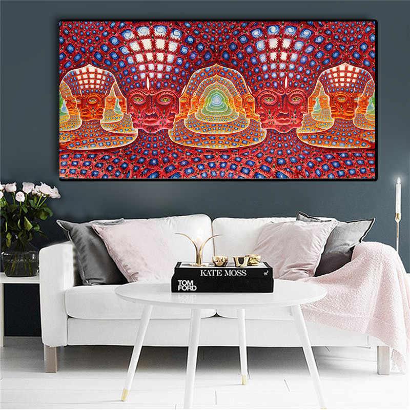 Trippy ALEX สีเทาบทคัดย่อ Wall Art ภาพวาดผ้าใบโปสเตอร์และพิมพ์ประสาทหลอนภาพตกแต่งห้องนั่งเล่นตกแต่งบ้าน