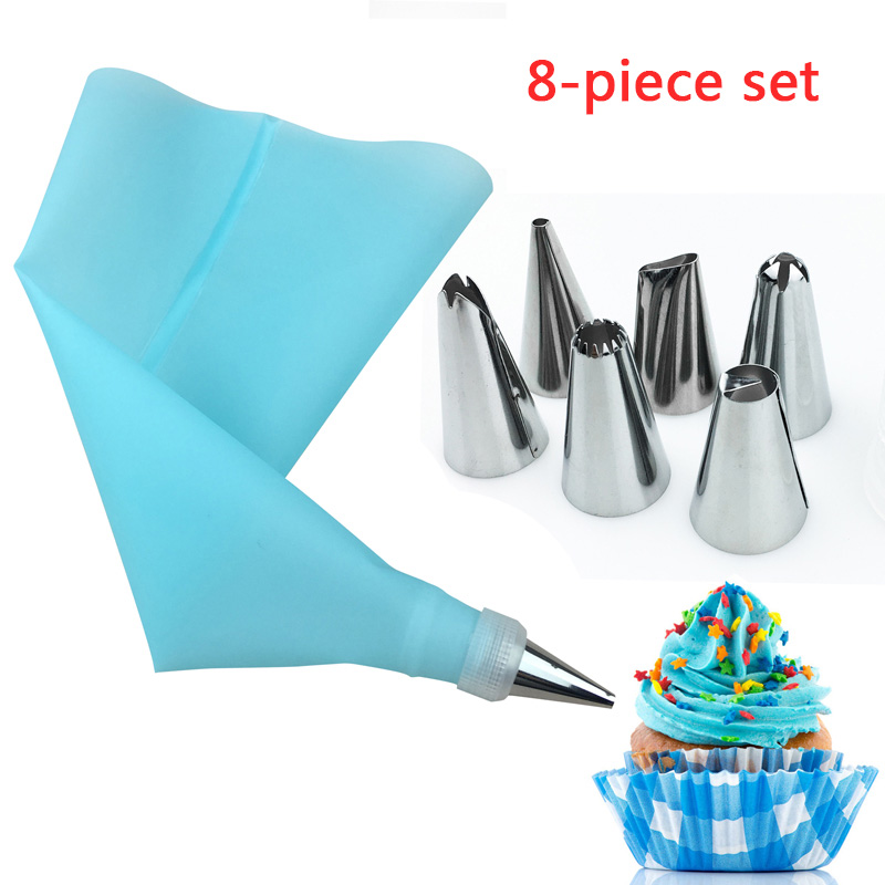 8Pcs/set Stainless Steel 6 Nozzle 12-inch EVA Cream Squeeze Bag And Small Converter Cake Tools Bakeware Kitchen Accessories