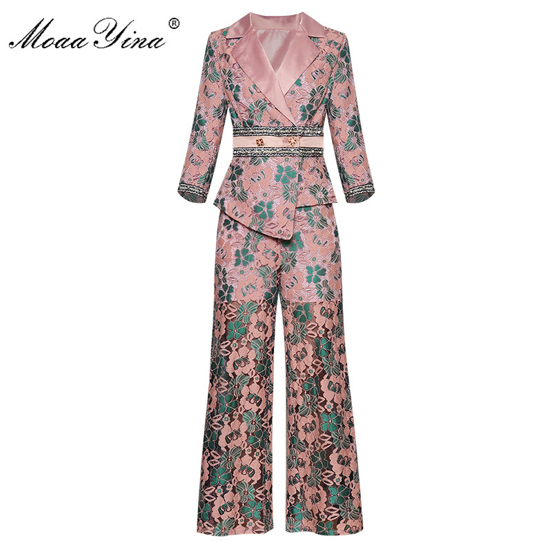 MoaaYina Fashion Designer Set Autumn Winter Women 3/4 Sleeve  Asymmetrical Suit Tops+Straight Trousers Lace Print Two-piece Suit