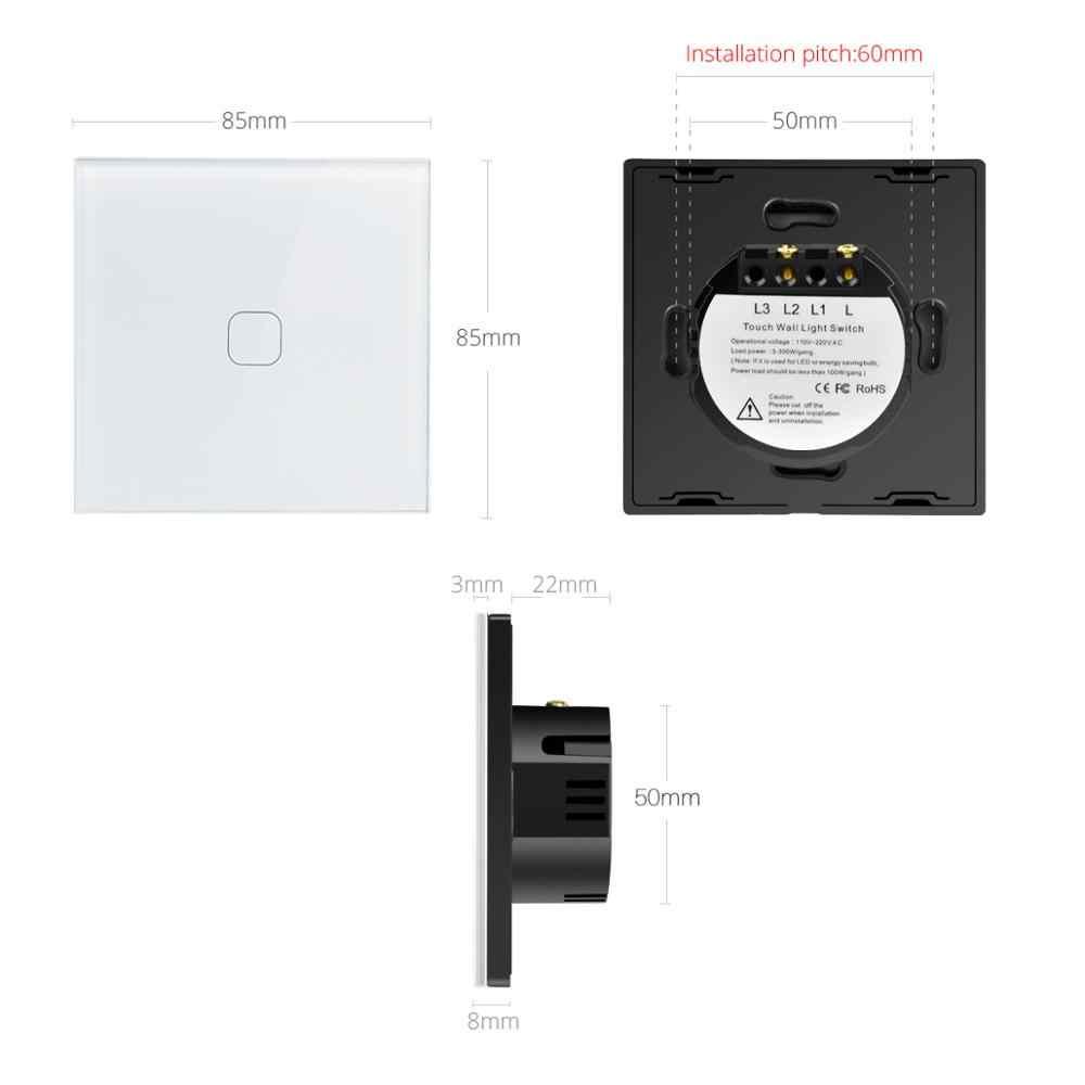 Светодиодный сенсорный выключатель AIMENGTE, 220 В, 240 в, ЕС, Великобритания, сенсорный датчик, настенный выключатель, сенсорный экран, переключатель, стеклянная панель управления