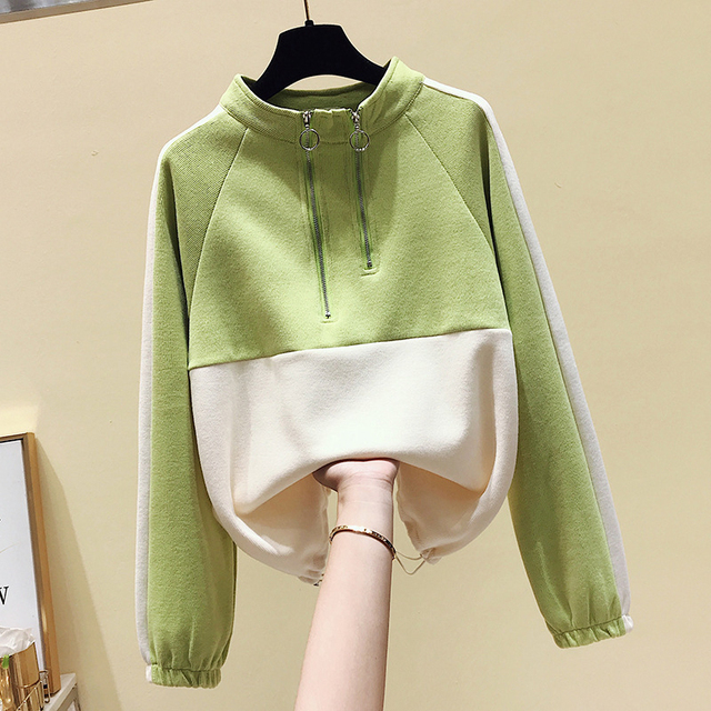 Double Zipper Sweatshirt Hoodies & Sweatshirts Unisex color: Blue|Green|Yellow