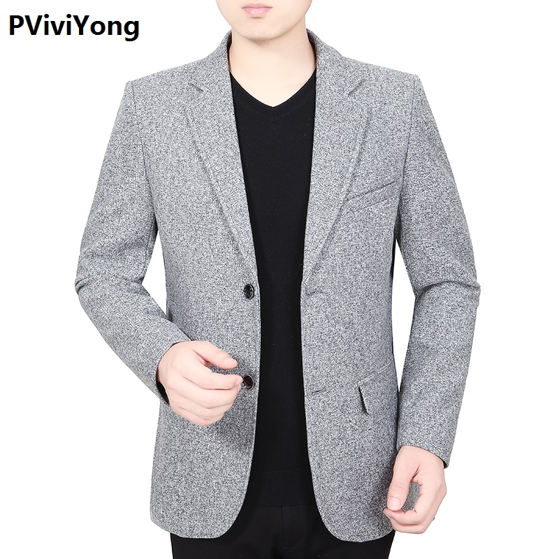 PViviYong 2019 New Fashion Young Men Slim High Quality Suit Blazer Jacket Two Button Lapel Casual Long Sleeve Blazer 1931