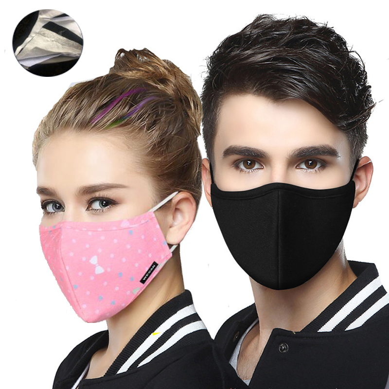 1PCS Reusable Cotton PM2.5 Anti Haze Mask Anti Dust Mouth Mask Activated Carbon Filter Mouth-muffle Fabric Face Mask