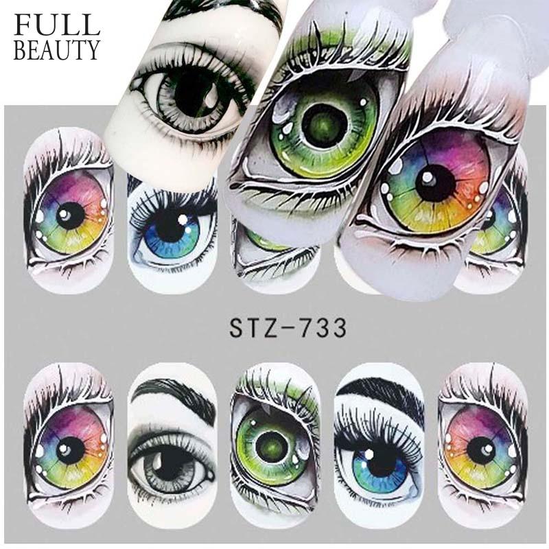 1x Skull Bone Nail Stickers Water Self Adhesive Halloween Slider Tattoo Big Eye Horror Decals for DIY Decor Wrap CHSTZ731-734(China)