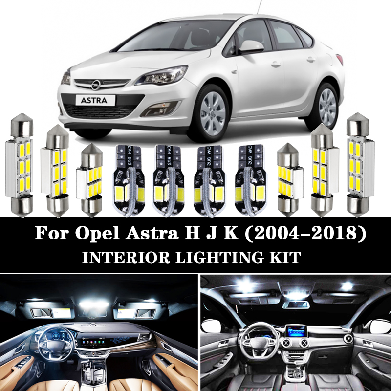 100% Perfect White Canbus Error Free <font><b>LED</b></font> Bulb interior Reading dome map light Kit for Opel <font><b>Astra</b></font> H <font><b>J</b></font> K (2004-2018) image